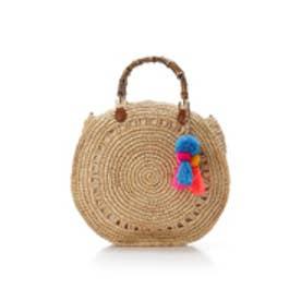 サマンサタバサ バンブー持ち手かごバッグ(ブルー)