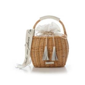 サマンサタバサ レース巾着かごバッグ(ホワイト)