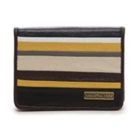 サマンサキングズ カラーボーダーモチーフ カードケース(ブラウン)