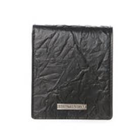 サマンサキングズ 折財布(箔付き型押しver.)(ブラック)