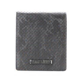 サマンサキングズ カモフラ×パンチング W型押し折財布(ガンメタル)