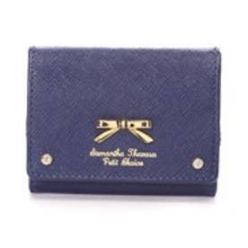サマンサタバサプチチョイス シンプルリボンプレート(ミニ財布)(ネイビー)