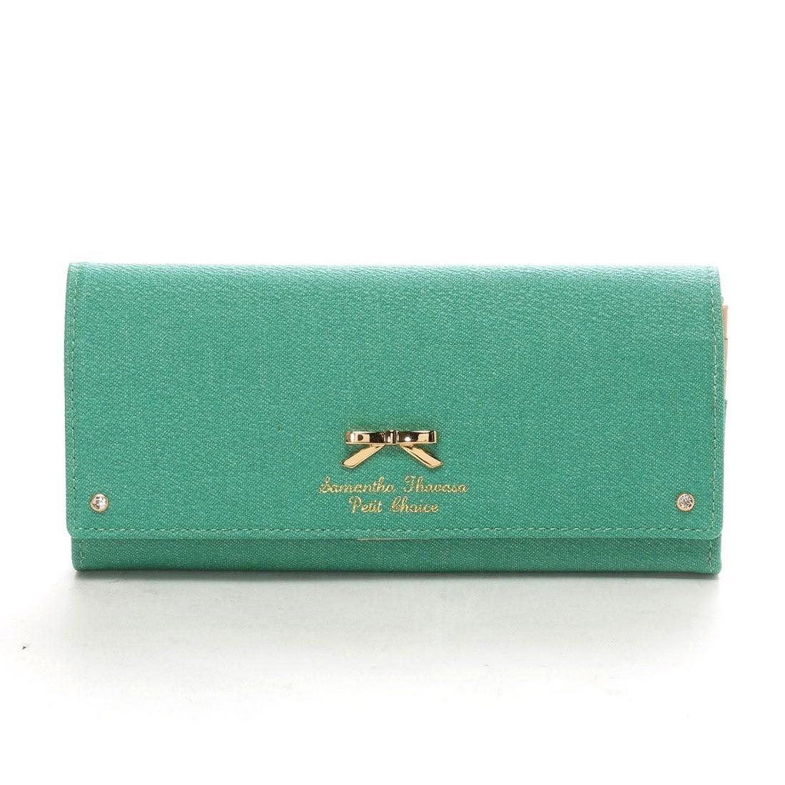 サマンサタバサプチチョイス デニムシンプルリボンプレート 長財布(グリーン)