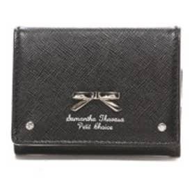 サマンサタバサプチチョイス シンプルリボンプレート ミニ財布(ブラック)