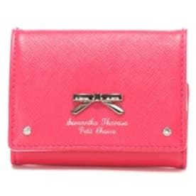 サマンサタバサプチチョイス シンプルリボンプレート ミニ財布(フューシャピンク)