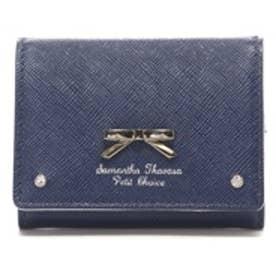 サマンサタバサプチチョイス シンプルリボンプレート ミニ財布 ネイビー