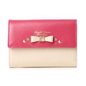 サマンサタバサプチチョイス ビジューリボンモチーフ バイカラーシリーズ 折財布(マゼンタ)