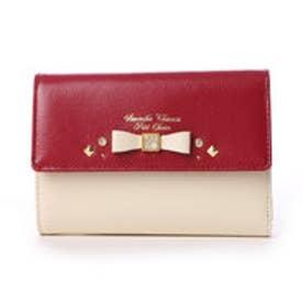 サマンサタバサプチチョイス ビジューリボンモチーフ バイカラーシリーズ 折財布(レッド)