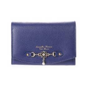 サマンサタバサプチチョイス フラワーモチーフプレートシリーズ 三つ折り財布(ネイビー)