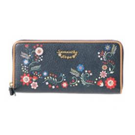 サマンサベガ フラワープリント ラウンド財布(ブラック)