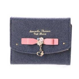 サマンサタバサプチチョイス フラワーハートモチーフシリーズ デニムバージョン ミニ財布(コーラルピンク)