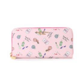 サマンサタバサプチチョイス Lara Collection コスメ総柄シリーズ ラウンドジップ長財布(ピンク)
