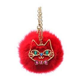 サマンサタバサプチチョイス 猫モチーフ付ファーチャーム(レッド)