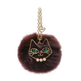 サマンサタバサプチチョイス 猫モチーフ付ファーチャーム(ブラウン)