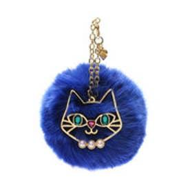 サマンサタバサプチチョイス 猫モチーフ付ファーチャーム(ブルー)