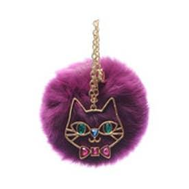 サマンサタバサプチチョイス 猫モチーフ付ファーチャーム(レッドパープル)
