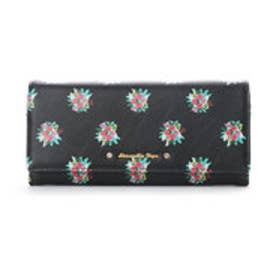 サマンサベガ フラワープリント かぶせ長財布(ブラック)