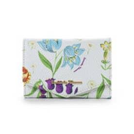 サマンサタバサ ハイキングフラワー小物(折り財布)(ホワイト)