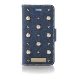 サマンサタバサプチチョイス パールモチーフ デニムバージョン BOOK型iPhone8ケース(ブルー)