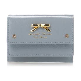 サマンサタバサプチチョイス シンプルリボンプレート シュリンクレザーバージョン ミニ財布(ブルー)