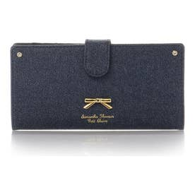 サマンサタバサプチチョイス シンプルリボンプレート デニムシリーズ 薄型長財布(インディゴ)