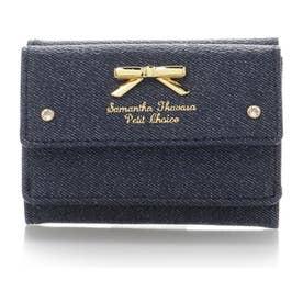 サマンサタバサプチチョイス シンプルリボンプレート デニムシリーズ ミニ財布(インディゴ)
