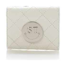 サマンサタバサ ST金具キルト折財布(ホワイト)