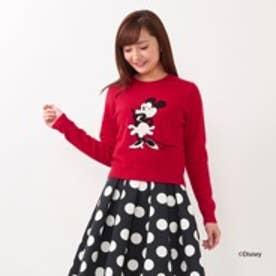 アンドクチュール【D23】 ミニーマウス/刺繍クルーネックプルオーバー(レッド)
