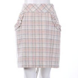 ウィルセレクション チェックファンシーコクーンスカート(ピンク)