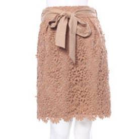 ウィルセレクション 3Dフラワーレースタイトスカート(キャメル)