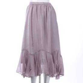ウィルセレクション シャイニーボイル裾ラッフルスカート(グレー)
