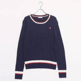 エル スポーツ ELLESPORT UVスポーティラインクルーネックセーター (ネイビー)