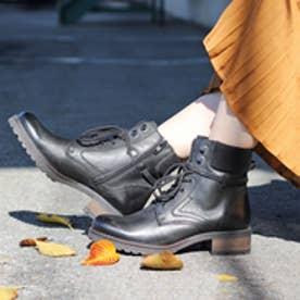 ロビンローズ Robin Rose 【KLONDIKE/クロンダイク】 リブニット使い編み上げ本革ブーツ (BLK)