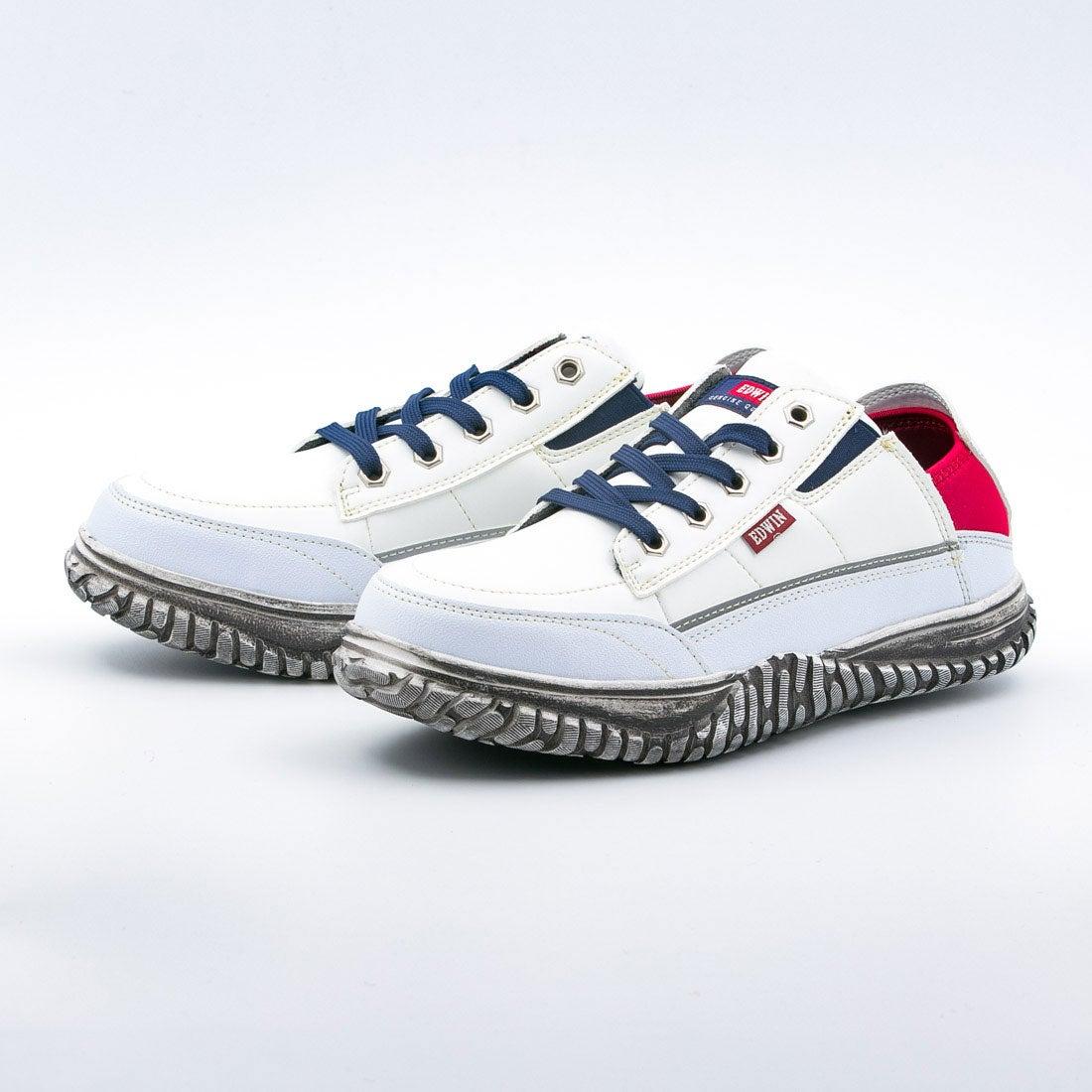 エドウィン EDWIN 安全靴 おしゃれ メンズ 滑りにくい 防水 軽量 軽い スニーカー 作業靴 サイドゴア 軽作業 (ホワイト)