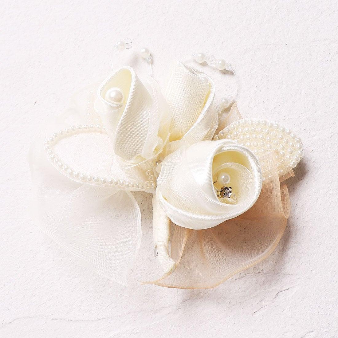 ロコンド 靴とファッションの通販サイトプレンドレ ラ ジョア prendre la joie パールリーフ巻き花コサージュ (ホワイト)