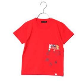 カズユキ タキシタ KAZUYUKI TAKISHITA 鬼ヶ島で一筆Tシャツ (赤)