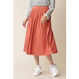 スエードライクギャザースカート オレンジ