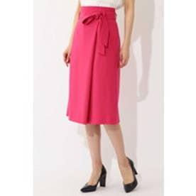 ◆大きいサイズ◆麻調ラップスカート ピンク
