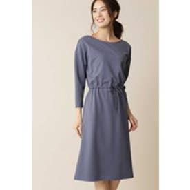 ◆大きいサイズ・洗える◆[Weekend Line]ポケット付ジャージードレス ブルー