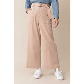 ◆大きいサイズ・洗える◆[Weekend Line] シャツコールワイドパンツ ピンク