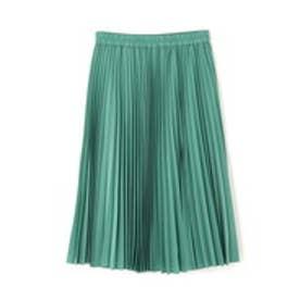 ◆サテンスエードアコーディオンプリーツスカート グリーン
