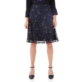◆チュールフラワー刺繍フレアースカート ネイビー