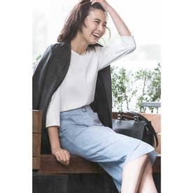 ◆[WEB限定商品]フェイクスエードジップ付きスカート ブルー1