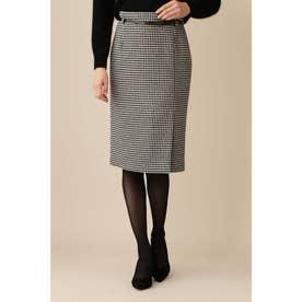 ◆千鳥ツィードラップスカート ブラックチドリ1