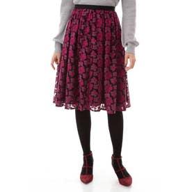 チュール刺繍スカート ワイン