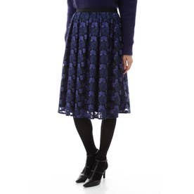 チュール刺繍スカート ブルー