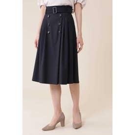 [洗える]マイクロギャバストレッチスカート ネイビー