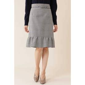 ◆グレンチェックペプラムスカート ブラック×ホワイト