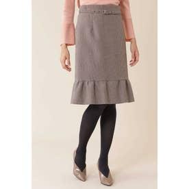 ◆グレンチェックペプラムスカート ボルドー