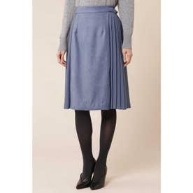 エルモザスエードサイドプリーツフレアスカート ブルー
